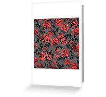 Rustic Red and Black Stem Rose Pattern Greeting Card