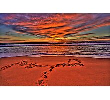 Footprints In The Sand - Revisited - Newport Beach - The HDR Experience Photographic Print