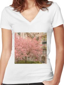 Brookline in bloom. Women's Fitted V-Neck T-Shirt