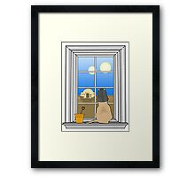 Twin Suns of Tatooine - Cat in the Window Framed Print