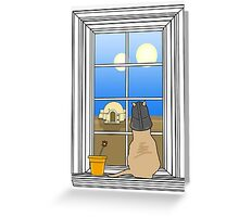 Twin Suns of Tatooine - Cat in the Window Greeting Card