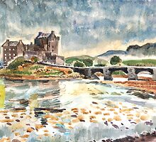 Eilean Donan After Steve Smith photo~Charles Burchfield painting style by Hopebaby. by Hopebaby