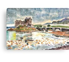 Eilean Donan After Steve Smith photo~Charles Burchfield painting style by Hopebaby. Canvas Print