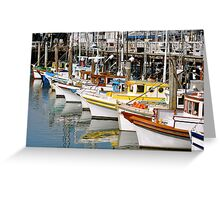 Colorful Tugs in a Row Greeting Card