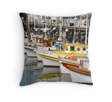 Colorful Tugs in a Row Throw Pillow