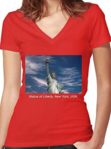 Statue of Liberty, New York, USA Women's Fitted V-Neck T-Shirt
