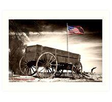 Wagon and Flag Art Print
