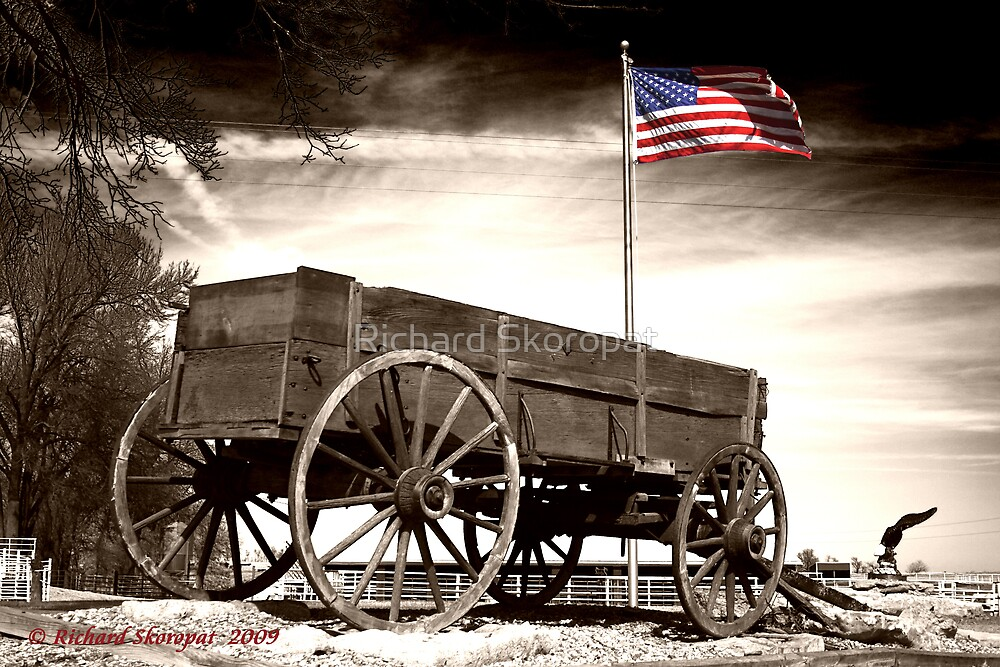 Wagon and Flag by Richard Skoropat