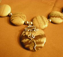 silver wrapped stone necklace by Sherry Laird