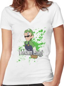 I Main Luigi - Super Smash Bros. Women's Fitted V-Neck T-Shirt