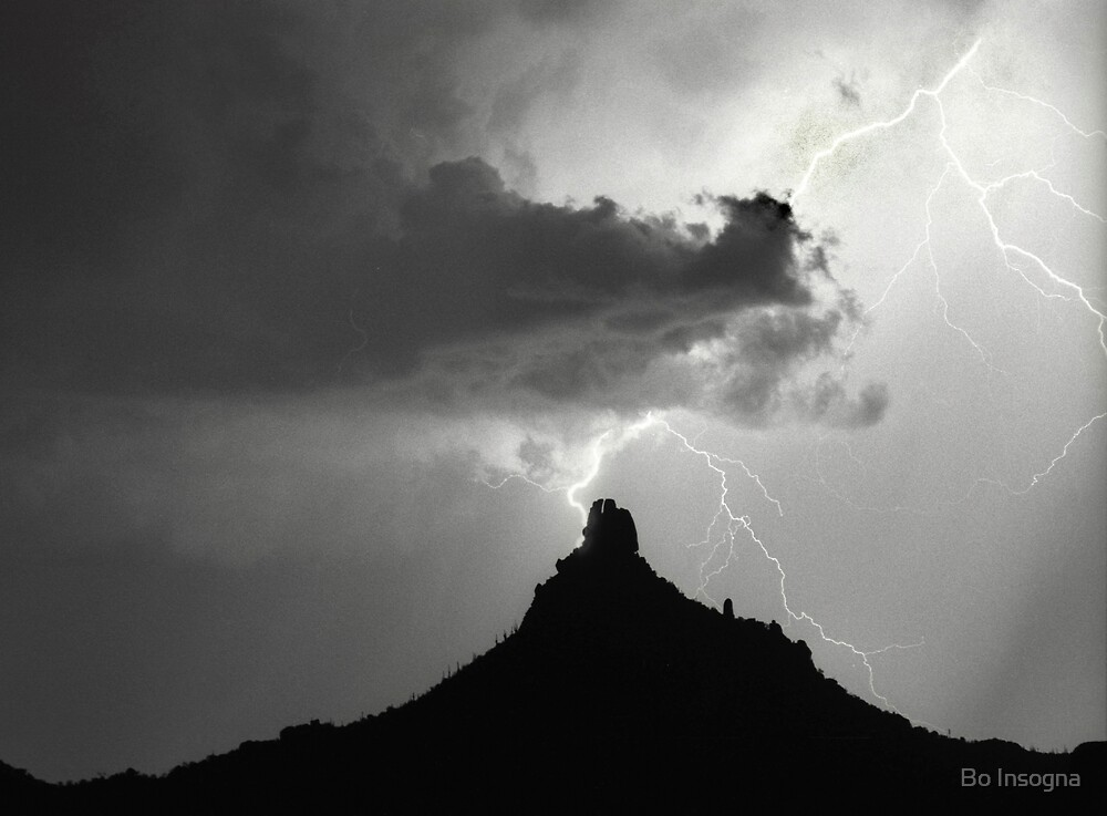 Lightning Striking Pinnacle Peak by Bo Insogna