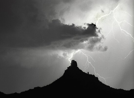 Lightning Striking Pinnacle Peak by Bo Insogna