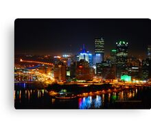 Pittsburgh Pennsylvania by night Canvas Print