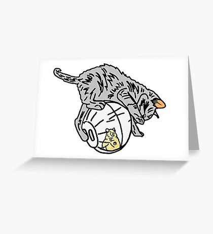 Playful Kitten on a Hamster Ball Greeting Card