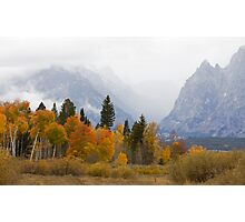 Cascade Canyon, Snow Showers & Fall Color Photographic Print