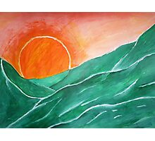 Sunset Over The Green Hills. Photographic Print