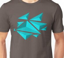 Floating 3D Triangles - Blue Unisex T-Shirt