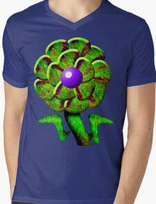 Flower Green Mens V-Neck T-Shirt