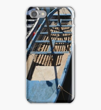 Blue and white wooden boats iPhone Case/Skin