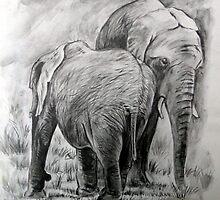 Young Elephants. by Robert David Gellion