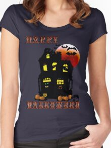 Happy Halloween Mansion  Women's Fitted Scoop T-Shirt