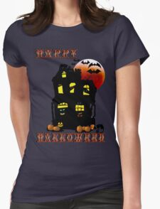 Happy Halloween Mansion  Womens Fitted T-Shirt