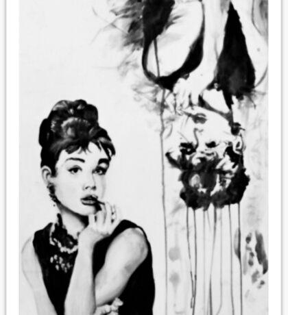 A portrait and a deconstruction of Audrey Hepburn Sticker