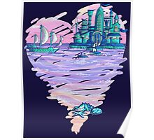 Blue CIty Violet Sea Poster