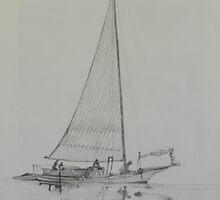 Skipjack in graphite by Phyllis Dixon