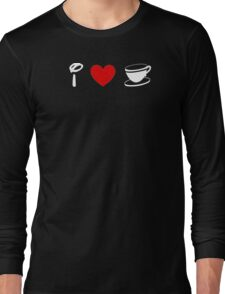 I Heart Tea Cups (Classic Logo) (Inverted) Long Sleeve T-Shirt
