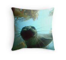 Harbor Seal at Depth Throw Pillow