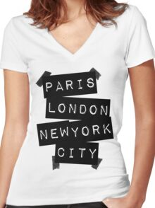 PARIS LONDON NEW YORK CITY Women's Fitted V-Neck T-Shirt