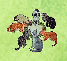 Seven cute kittens lapping milk by didielicious