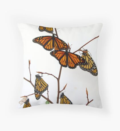 Monarch Butterfly Tree Throw Pillow