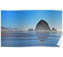Haystack Rock with Kite in Fog  Poster