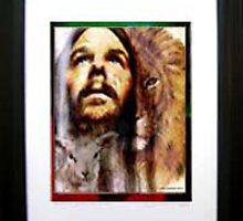 YESHUA JESUS, THE LION AND THE LAMB. FRAMED PRINT by LINDA HARRIS-IORIO