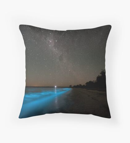 Bioluminescence in the Waves Throw Pillow