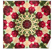 Old Red Rose Kaleidoscope 8 Poster