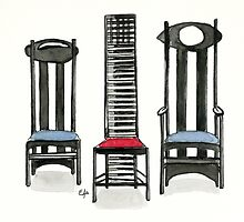 Argyle Chair- Hill House Chair And Argyle Carved Chair By Charles Rennie Mackintosh. by Eugenia Alvarez