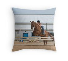 Jumping the rails Throw Pillow