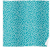 Classic baby polka dots in cyan. Poster