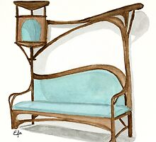 Bench for a Smoking Parlour - Art Nouveau watercolor painting  by Eugenia Alvarez