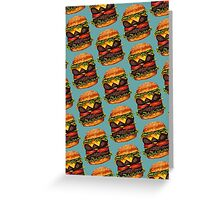 Double Cheeseburger Pattern Greeting Card