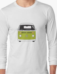 Late Bay VW Camper Green Front Long Sleeve T-Shirt