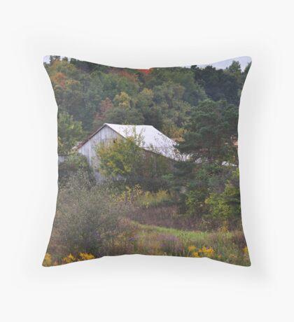 Barns Amid Autumn Trees Throw Pillow