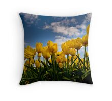 Yellow Tulips on a beautiful day Throw Pillow