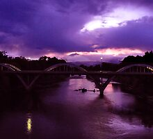 Grants Pass Bridge at dusk by Jeannie Peters