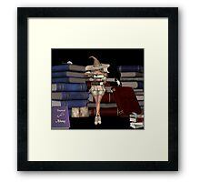 Febuary .. Witch with her spell books Framed Print