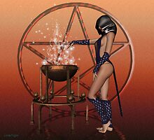 March .. A witch with cauldren and pentacle by LoneAngel
