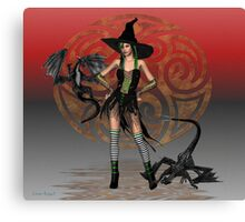 June .. A Witch with two dragons Canvas Print